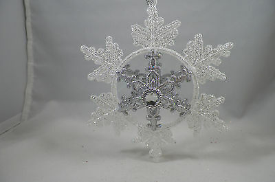White and Silver Glittered Jeweled Snowflake Christmas Tree Ornament new