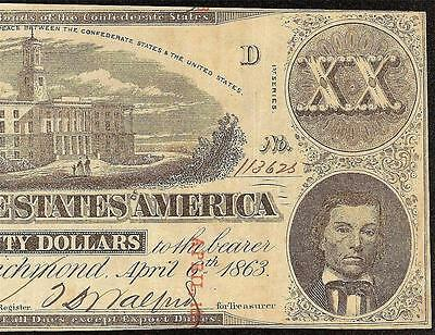 1863 $20 Dollar Overprint Error Confederate States Note Civil War Currency T-58