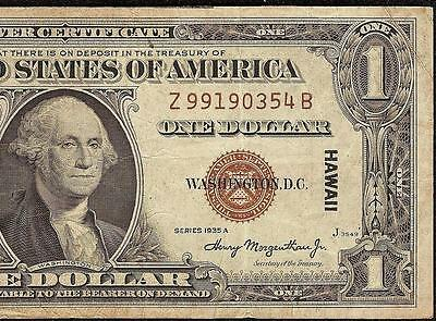 1935 A $1 Dollar Bill Wwii Hawaii Silver Certificate Brown Seal Note Paper Money