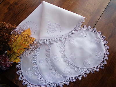 PLACEMAT SET 5 Antique White Linen Embroidered Scottish Eyelet Doilies TATTING!