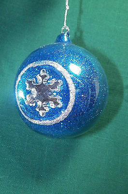 Cobalt Blue Ball with Silver Snowflake Christmas Tree Ornament new