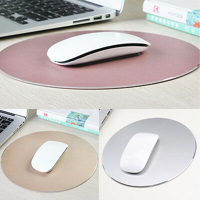 Office 220mm Round Aluminum Alloy Pad Mousepad Game Mat W/Non-slip Rubber Base