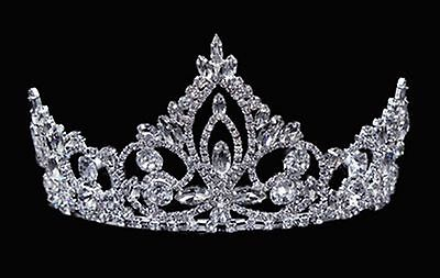 Rhinestone tiara - 3 inches high - crystals & silver-plated metal - combs