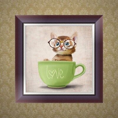 DIY 5D Diamond Embroidery Painting Cat Cup Cross Stitch Art Craft Home Decor