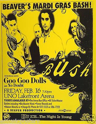 Bush / Goo Goo Dolls / No Doubt 1996 New Orleans Concert Tour Poster