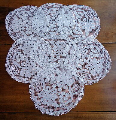 "SET - 7 Antique Italian Handmade Place Mats Doilies GRAPES 10"" Fine Figural Lace"