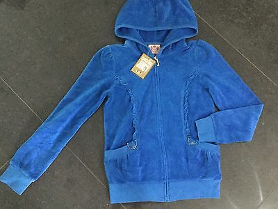 NWT Juicy Couture New & Genuine Girls Age 8 Blue Cotton Hoody With Juicy Logo