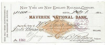 1882 Massachusetts Railroad Bank Check RN-G1