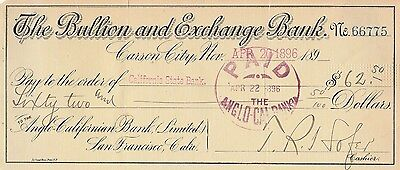 Antique Check   The Bullion And Exchange Bank, Carson City, Nevada  1896