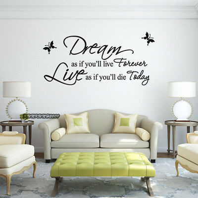 Dream As If You Will Live Forever Quote Art Vinyl Wall Stickers Decal Room Decor