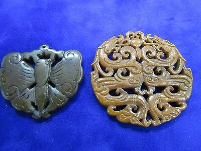 2 x Asian Hand Carved Jade Large Pendents