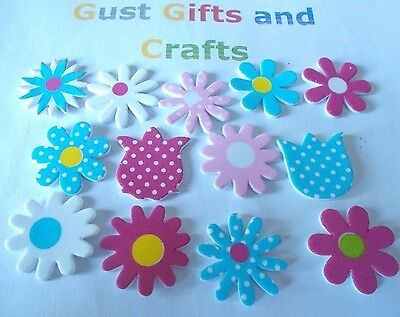 12 Pretty foam flower stickers in a mix of designs - Pink, blue and white