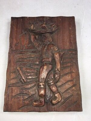 Vintage Carved Wooden Plaque