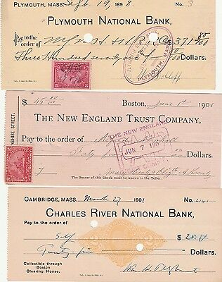 3  Antique Check From 3 Massachusetts Cities   W/revenue Stamp