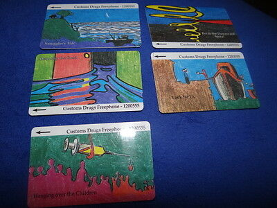 Jersey Telecoms Custom Drugs Freephone Set of 5 Phonecards