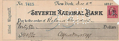 1898 The Seventh  National Bank,  New York   W/revenue