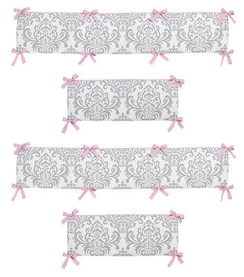 Unique Designer Luxury Pink And Gray Damask Baby Girl 4 Piece Crib Bumper Pad