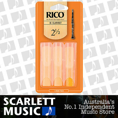 Rico Bb Clarinet Reeds 3 Pack Reed Size 2.5 / 2 1/2 RCA0325 3PK