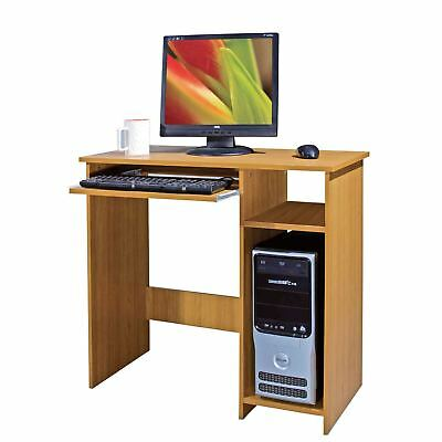 Beech Compact Computer Desk with Keyboard Shelf Home Office Workstation Wooden
