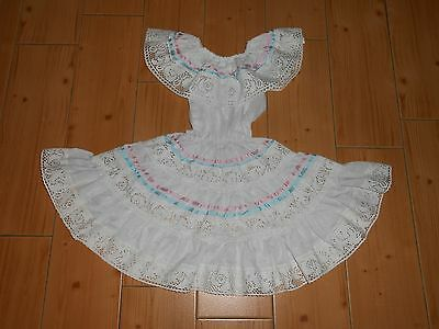 Vtg 70's Toddler Mexican White w Pink/Blue Lace Peasant FULL SWEEP Dress M-L