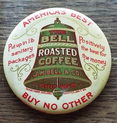 """Antique Small 2"""" BELL ROASTED COFFEE J.H. Bell & Co. Advertising POCKET MIRROR"""