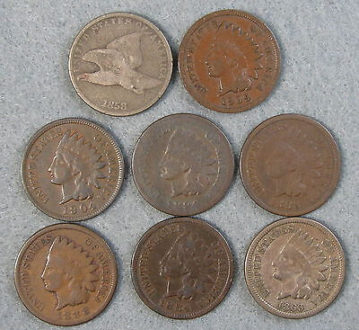 8 Piece Flying Eagle & Indian Head Penny Circulated US Coin Lot 1858-1909 #1049