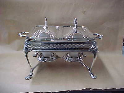 Vintage Sheridan Double Silverplate Chafing, Warming Dish With Pyrex Casserloes