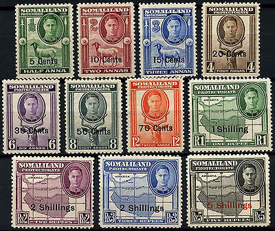 Somaliland Protectorate 1951 SG#125-135 KGVI New Currency Definitives Set#D52475