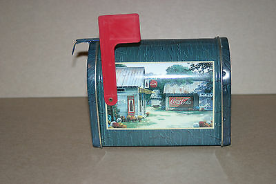 Collectible 1999 Coca-Cola Mailbox Tin With Small-Town Scene On Sides