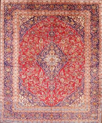 """Hand Knotted Traditional Red 9x12 Kashan Persian Oriental Area Rug 11' 9"""" x 9' 5"""
