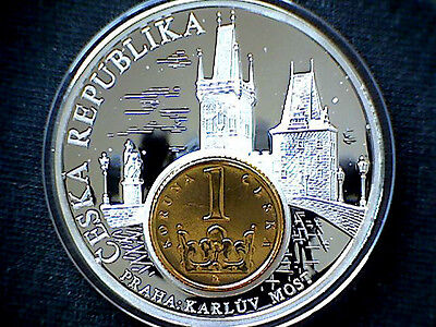 Czech Republic Commemorative Medalion: European Currencies Serie, Coin Inlay M.*