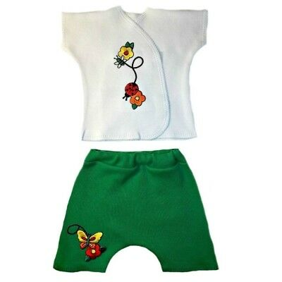 Summer Garden Baby Girl Shirt Shorts Outfit - 4 Preemie and Newborn Infant Sizes