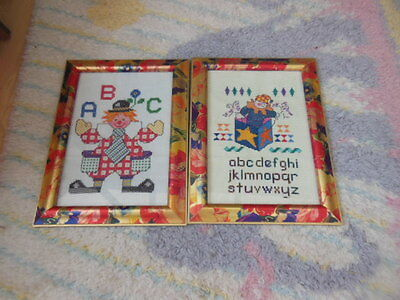 Two Embroidered Colourful Pictures In Coloured Frames Ideal Nursery/alphabet