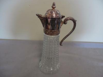 Italy Vintage Diamond Cut Glass Carafe/Decanter With Silver Plate Lid & Handle