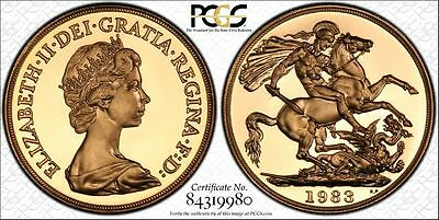 1983 UK Great Britain Gold Proof £2 Pounds Certified PCGS PR69DCAM Secure Holder