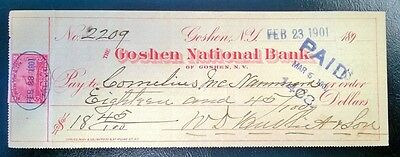 Goshen National Bank Check with Revenue Stamp.  New York.  1901