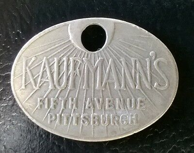 Vintage Kaufmann's Credit Charge Card Token ~ Fifth Ave, Pittsburgh, PA