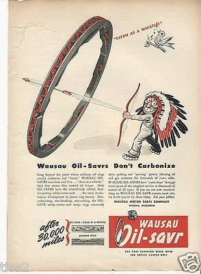 1946 Native American INDIAN CHIEF Arrow Wausau Oil Saver Rings Vintage Print Ad