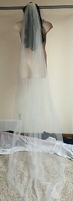 Davids Bridal One Tier Cathedral Veil Pearl Comb Ivory GR002 Wedding NWT $129