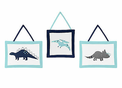 Wall Art Decor Hangings For Sweet Jojo Blue And Green Mod Dinosaur Bedding Set