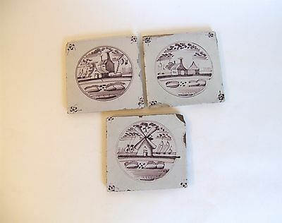 Set of 3 Antique Delft Dutch Manganese Clay Tiles Landscape Windmill Scenes