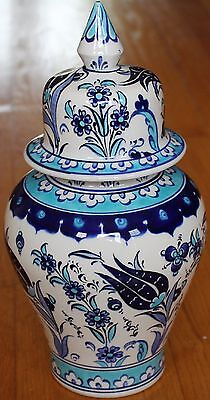 "Blue 10""x5"" Handpainted Turkish Iznik Tulip Pattern Ceramic Jar Urn Canister"
