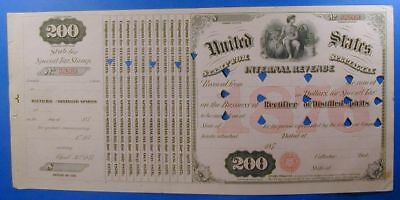 1876 United State $200. Special Tax Stamp Rectifier Of Distilled Spirit  Ws0029