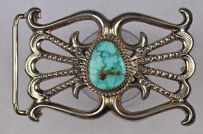 Navajo Turquoise & Silver Belt Buckle !!! Signed - Wilson Begay !!!