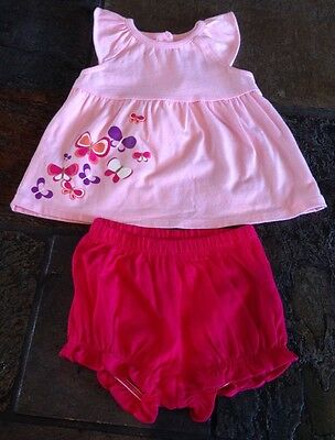 Nwt Gymboree Baby Girls Size 0-3 Months Pink Butterfly 2 Pc Outfit