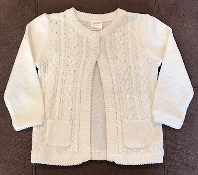 Nwt Gymboree Baby Girls Size 2-18 Months Ivory 2 Button Cardigan Sweater A