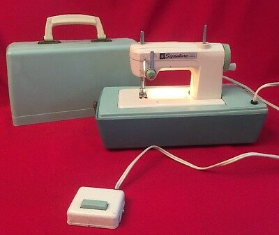 Vintage SIGNATURE JUNIOR Sewing Machine Made Japan Child's Working Electric Foot