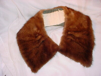 Vtg Mink Fur Collar Glossy Brown Pleated for Coat or Jacket