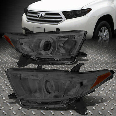 For 2011-2013 Toyota Highlander Smoked Housing Amber Corner Projector Headlight