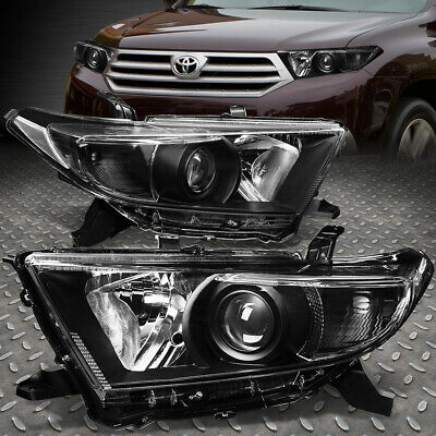 For 2011-2013 Toyota Highlander Black Housing Clear Corner Projector Headlight